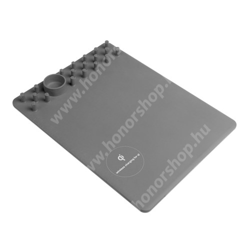 HUAWEI Honor 9 Egérpad - beépített Qi Wireless vezetéknélküli töltő és asztali tartó funkcióval - 1A - SZÜRKE