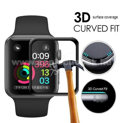 El?lap v�d? karc�ll� edzett �veg - 1db, 9H, 3D - A TELJES EL?LAPOT V�DI! - FEKETE - Apple Watch 4 44mm