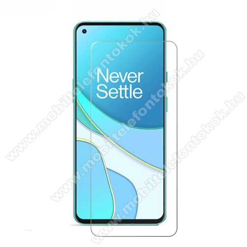 OnePlus 8T (KB2001, KB2000, KB2003)Előlap védő karcálló edzett üveg - 0,33 mm vékony, 9H, Arc Edge, A képernyő sík részét védi - OnePlus 8T / 8T Plus 5G