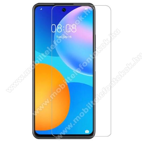 Előlap védő karcálló edzett üveg - 0,33 mm vékony, 9H, Arc Edge, A képernyő sík részét védi - HUAWEI P smart (2021) / HUAWEI Y7a / Honor 10X Lite