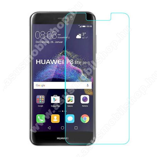 Előlap védő karcálló edzett üveg - 0,33 mm vékony, 9H, Arc Edge, A képernyő sík részét védi - HUAWEI P8 Lite (2017) / HUAWEI P9 Lite (2017)  / HUAWEI Honor 8 Lite