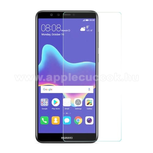 Előlap védő karcálló edzett üveg - 0,3 mm vékony, 9H, Arc Edge, A képernyő sík részét védi - HUAWEI Y9 (2018) / HUAWEI Enjoy 8 Plus