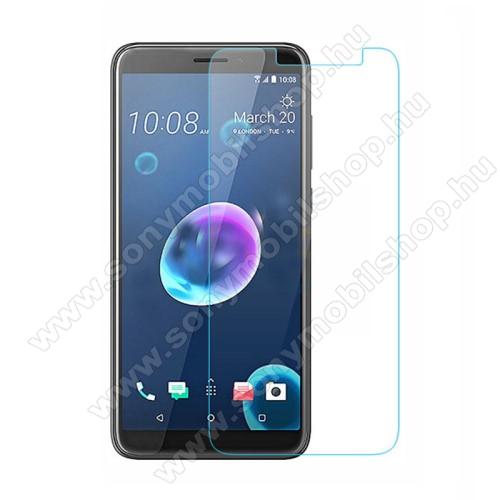 Előlap védő karcálló edzett üveg - 0,3 mm vékony, 9H, Arc Edge, A képernyő sík részét védi - HTC Desire 12+