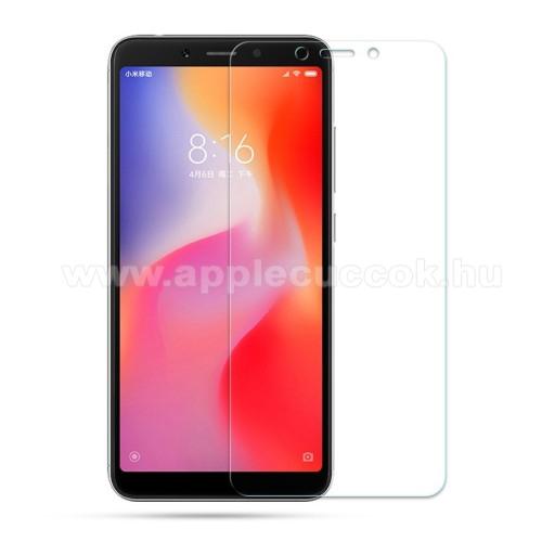 Előlap védő karcálló edzett üveg - 0,3 mm vékony, 9H, Arc Edge, A képernyő sík részét védi - Xiaomi Redmi 6 / Xiaomi Redmi 6A
