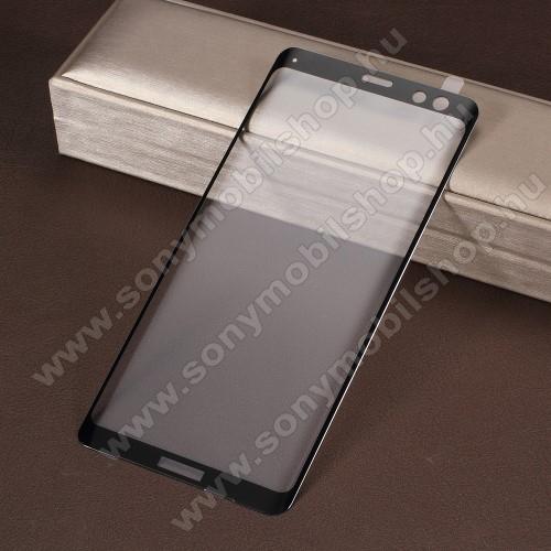 Előlap védő karcálló edzett üveg - 0,3 mm vékony, 9H, Arc Edge - TELJES KIJELZÕT VÉDI - FEKETE - Sony Xperia XZ3