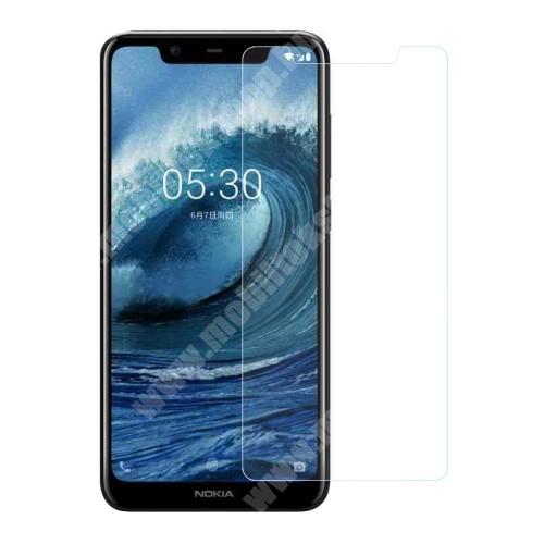 NOKIA 5.1 Plus (2018) Előlap védő karcálló edzett üveg - 0,3 mm vékony, 9H, Arc Edge, A képernyő sík részét védi - NOKIA 5.1 Plus