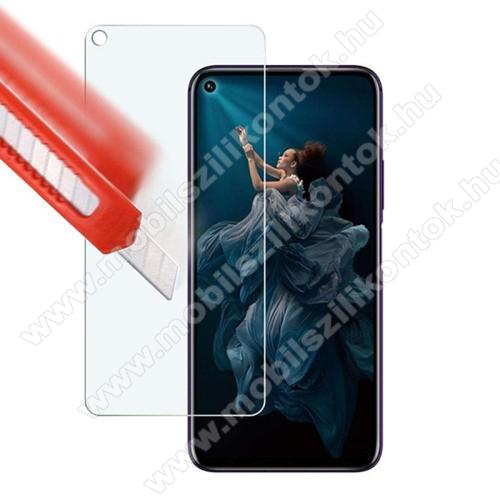 Előlap védő karcálló edzett üveg - 0,3 mm vékony, 9H, Arc Edge, A képernyő sík részét védi - HUAWEI Honor 20