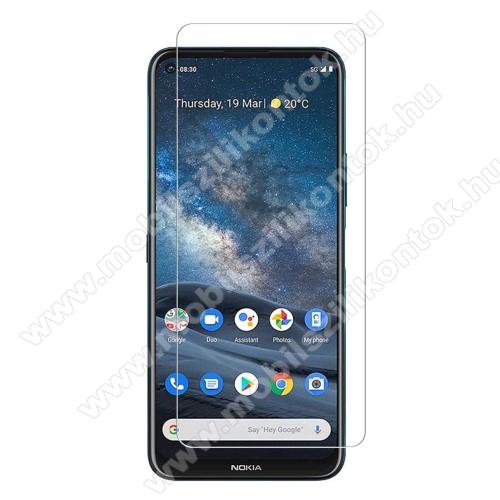 Előlap védő karcálló edzett üveg - 0,3 mm vékony, 9H, Arc Edge, A képernyő sík részét védi - Nokia 8.3 5G