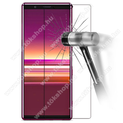 Előlap védő karcálló edzett üveg - 0,3 mm vékony, 9H, Arc Edge, A képernyő sík részét védi - Sony Xperia 5