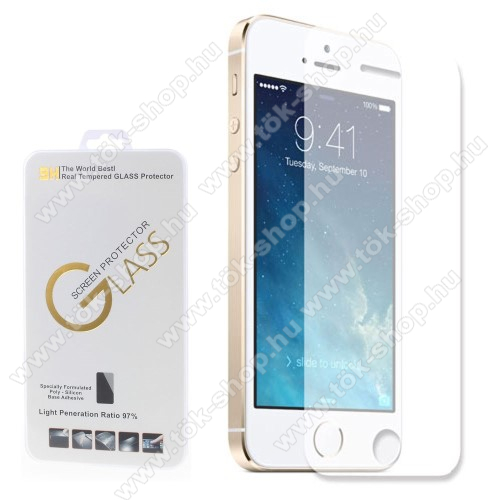 Előlap védő karcálló edzett üveg - 0,3 mm vékony, 9H, A képernyő sík részét védi - APPLE iPhone 5 / APPLE iPhone 5S / APPLE iPhone 5C