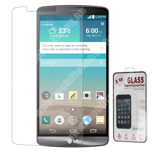 Előlap védő karcálló edzett üveg - 0,3 mm vékony, 9H, Arc Edge - LG D850 G3 / LG G3 Dual-LTE