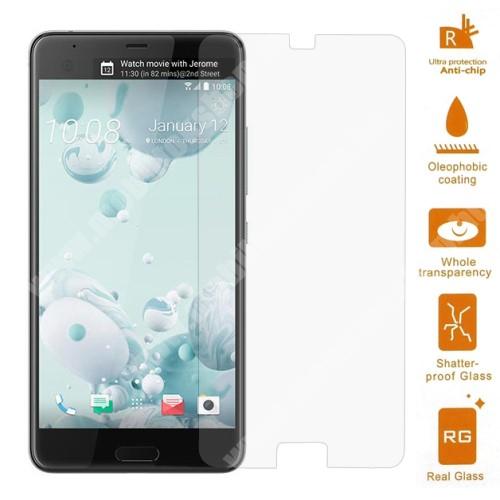 Előlap védő karcálló edzett üveg - 0,3 mm vékony, 9H, Arc Edge - HTC U Ultra
