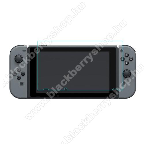 Előlap védő karcálló edzett üveg - 0,3 mm vékony, 9H, Arc Edge, A képernyő sík részét védi - Nintendo Switch