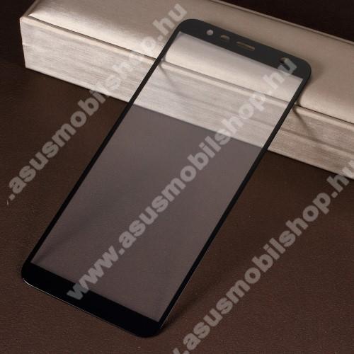 Előlap védő karcálló edzett üveg - 0,3mm vékony, 9H, Arc Edge, A teljes felületén tapad! - A TELJES KIJELZŐT VÉDI! - FEKETE - SAMSUNG SM-J415F Galaxy J4+ / SAMSUNG SM-J610F Galaxy J6+