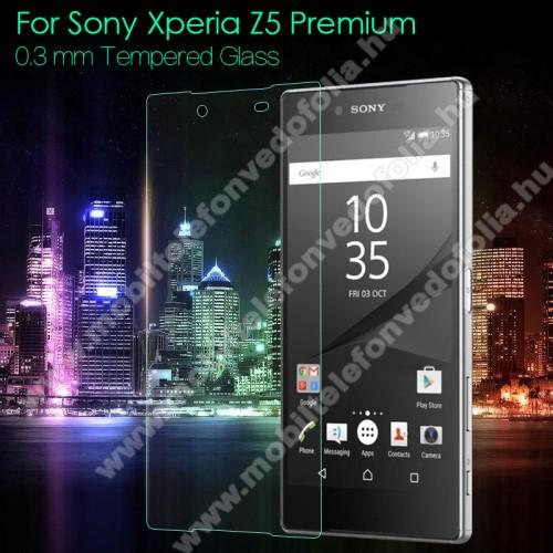 Előlap védő karcálló edzett üveg - 0,3mm, 9H, Arc Edge, A képernyő sík részét védi - SONY Xperia Z5 Premium / Z5 Premium Dual