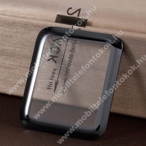 Előlap védő karcálló edzett üveg - 1db, 9H, 3D - A TELJES ELŐLAPOT VÉDI! - FEKETE - Apple Watch 1/2/3 - 42mm