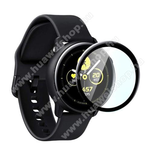 Előlap védő karcálló edzett üveg - 1db, 9H, 3D - A TELJES ELŐLAPOT VÉDI! - FEKETE - SAMSUNG Galaxy Watch Active2 40mm