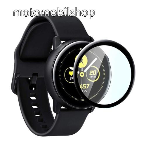 Előlap védő karcálló edzett üveg - 1db, 9H, 3D - A TELJES ELŐLAPOT VÉDI! - FEKETE - SAMSUNG Galaxy Watch Active2 44mm