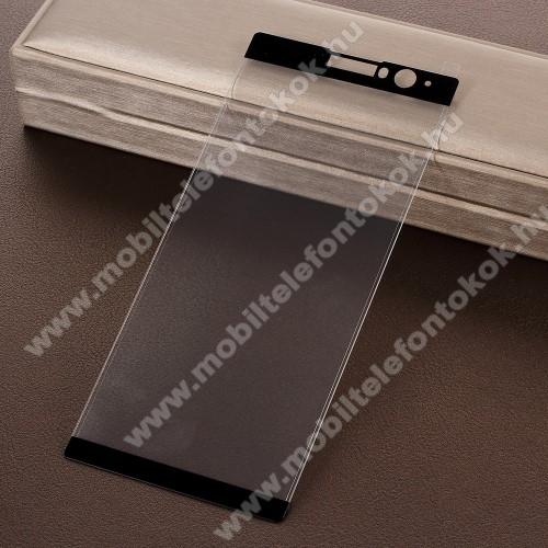 Előlap védő karcálló edzett üveg - 2.5D, Arc Edge, A TELJES KÉPERNYŐT VÉDI! - FEKETE - SONY Xperia XA2 Plus