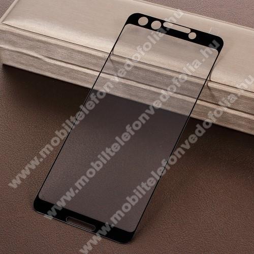 Előlap védő karcálló edzett üveg - 2.5D, Arc Edge, A TELJES KÉPERNYŐT VÉDI! - FEKETE - Google Pixel 3