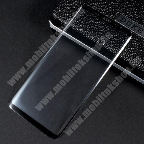 Előlap védő karcálló edzett üveg - 2.5D, arc edge, a teljes képernyőt védi - FEKETE - SAMSUNG SM-G950 Galaxy S8