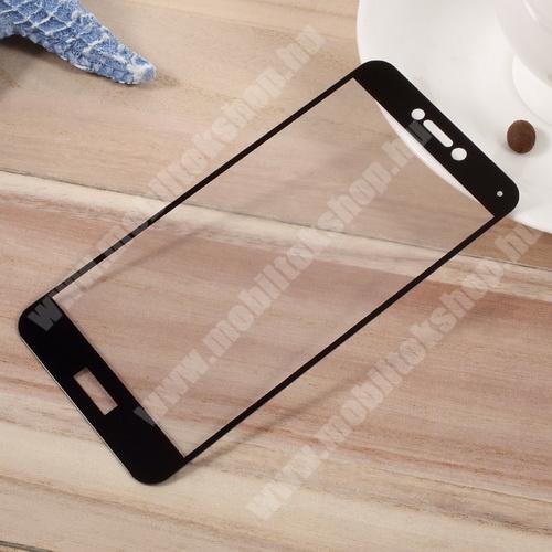 Előlap védő karcálló edzett üveg - 2.5D, arc edge, a teljes képernyőt védi - FEKETE - HUAWEI P10