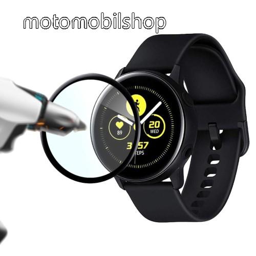 Előlap védő karcálló edzett üveg - 2db, 9H - A TELJES ELŐLAPOT VÉDI! - FEKETE - SAMSUNG SM-R500 Galaxy Watch Active