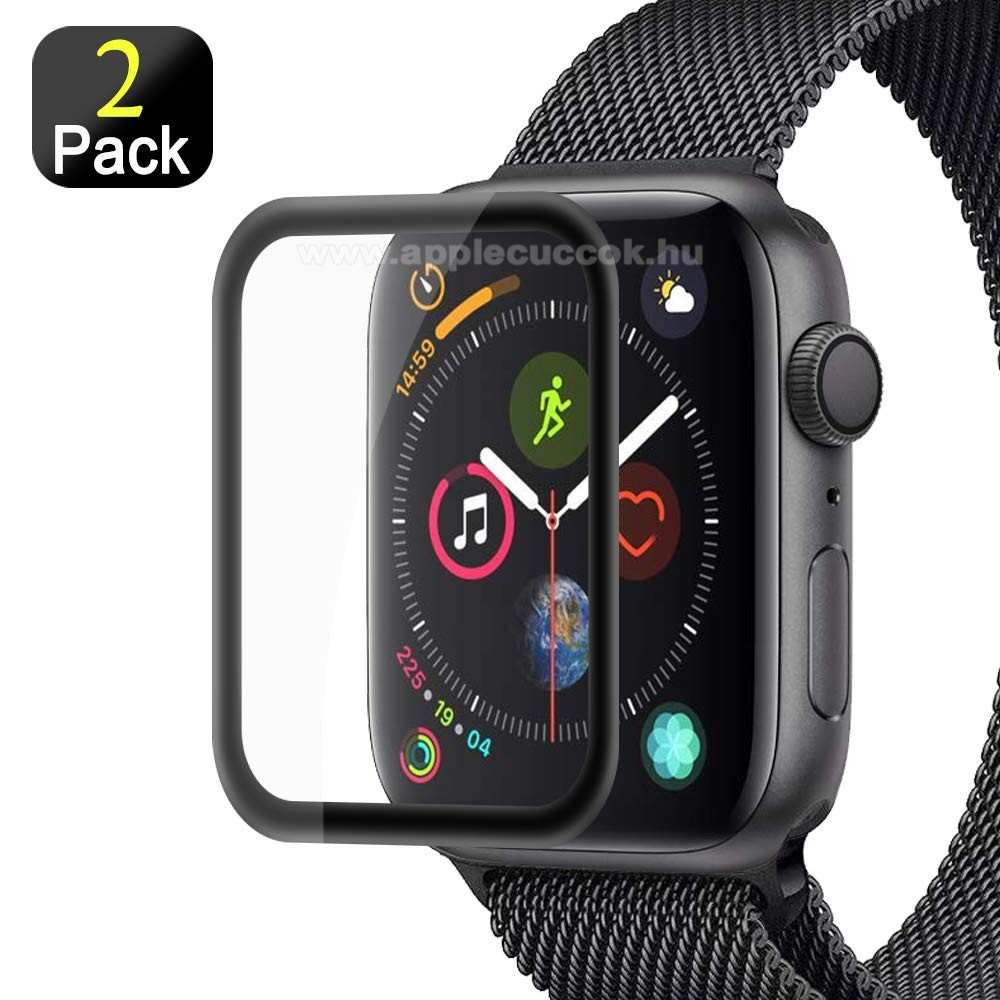 APPLE Watch Series 4 40mm Előlap védő karcálló edzett üveg - 2db, 9H, 3D - A TELJES ELŐLAPOT VÉDI! - FEKETE - Apple Watch Series 4 44mm / Apple Watch Series 5 44mm