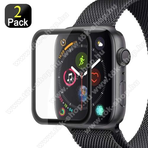 Előlap védő karcálló edzett üveg - 2db, 9H, 3D - A TELJES ELŐLAPOT VÉDI! - FEKETE - Apple Watch Series 4 40mm / Apple Watch Series 5 40mm