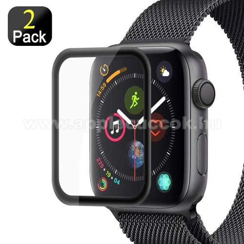 APPLE Watch Series 4 40mm Előlap védő karcálló edzett üveg - 2db, 9H, 3D - A TELJES ELŐLAPOT VÉDI! - FEKETE - Apple Watch Series 4 40mm / Apple Watch Series 5 40mm