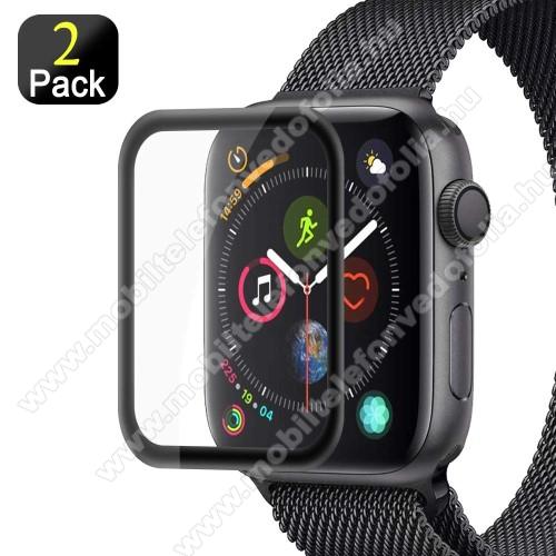 Előlap védő karcálló edzett üveg - 2db, 9H, 3D - A TELJES ELŐLAPOT VÉDI! - FEKETE - Apple Watch Series 5 40mm