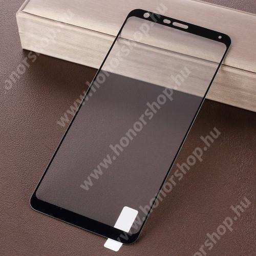 Előlap védő karcálló edzett üveg - 9H, 2.5D, Arc Edge, a teljes képernyőt védi! - FEKETE - LG Q Stylo 4 / LG Q Stylus