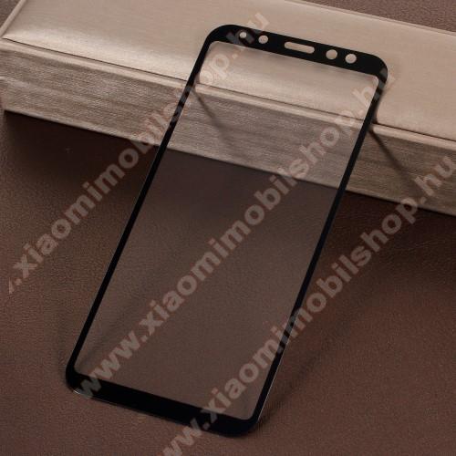 Előlap védő karcálló edzett üveg - 9H, 5D, Arc Edge, a teljes képernyőt védi! - FEKETE - SAMSUNG SM-A600F Galaxy A6 (2018)