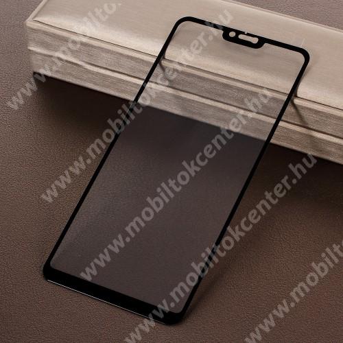 Előlap védő karcálló edzett üveg - 9H, Arc Edge, a teljes képernyőt védi! - FEKETE - Xiaomi Redmi Note 6 Pro
