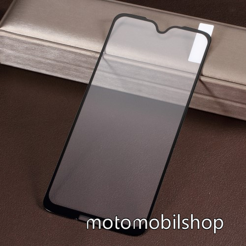 Előlap védő karcálló edzett üveg - 9H, Arc Edge - FEKETE - A TELJES KIJELZŐT VÉDI! - MOTOROLA Moto G7 / MOTOROLA Moto G7 Plus