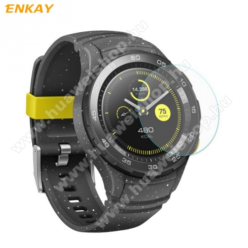 HUAWEI Watch W2Előlap védő karcálló edzett üveg - ENKAY - edzett üveg, 2.15D lekerekített szél, 0.2mm, 9H, A képernyő sík részét védi - Huawei Watch 2 / Huawei Watch W2 - GYÁRI