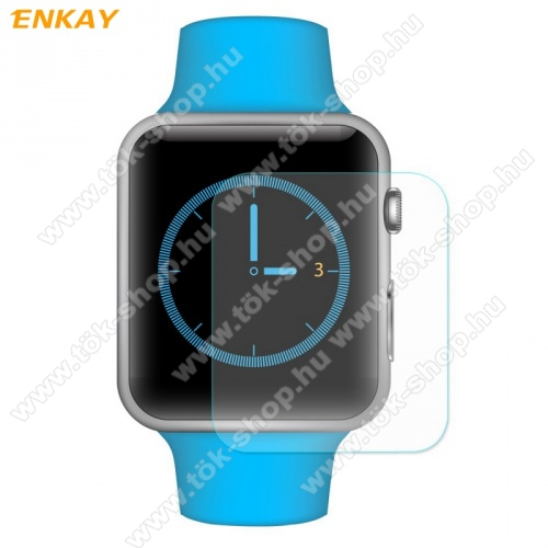 Előlap védő karcálló edzett üveg - ENKAY - 2db, 0.2mm 9H, 2.15D, A képernyő sík részét védi - Apple Watch 1/2/3 - 38mm - GYÁRI