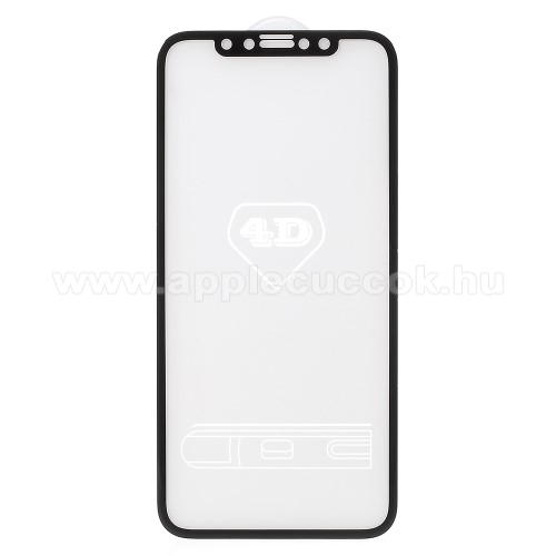 APPLE iPhone XElőlap védő karcálló edzett üveg - FEKETE - 9H - APPLE iPhone X / APPLE iPhone XS - A TELJES KIJELZŐT VÉDI!