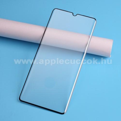 Előlap védő karcálló edzett üveg - FEKETE - 9H, Arc Edge - TELJES KIJELZŐT VÉDI! - Xiaomi Mi Note 10 / Xiaomi Mi Note 10 Pro / Xiaomi Mi CC9 Pro - GYÁRI