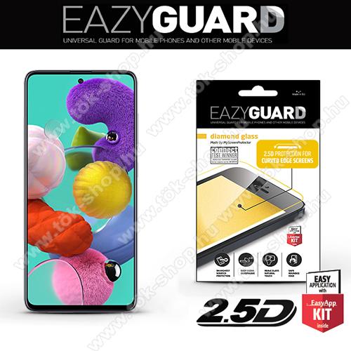 Előlap védő karcálló edzett üveg - FEKETE  - 9H, 2.5D, Arc Edge - A TELJES KIJELZŐT VÉDI! - SAMSUNG Galaxy A51 (SM-A515F)