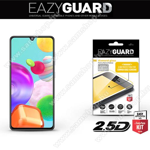 Előlap védő karcálló edzett üveg - FEKETE - 9H, 2.5D, Arc Edge - A TELJES KIJELZŐT VÉDI! - SAMSUNG Galaxy A41 (SM-A415F)