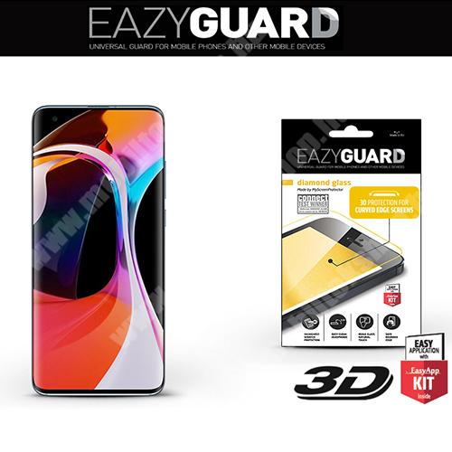 Előlap védő karcálló edzett üveg - FEKETE - 9H, 2.5D, Arc Edge - A TELJES KIJELZŐT VÉDI! - Xiaomi Mi 10 5G / Xiaomi Mi 10 Pro 5G