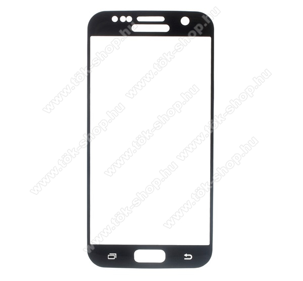 Előlap védő karcálló edzett üveg - FEKETE - 9H, 0.30mm, 2.5D, Arc Edge - A TELJES KIJELZŐT VÉDI! - SAMSUNG SM-G930 Galaxy S7