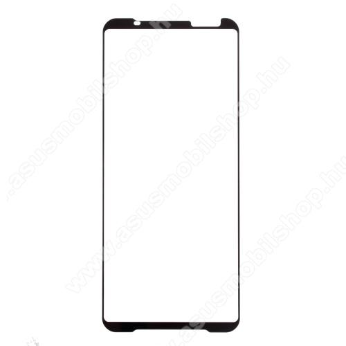 Előlap védő karcálló edzett üveg - FEKETE - 9H, Arc Edge, A teljes felületén tapad! - A TELJES KIJELZŐT VÉDI! - ASUS ROG Phone 3 (ZS661KS) / ASUS ROG Phone 3 Strix
