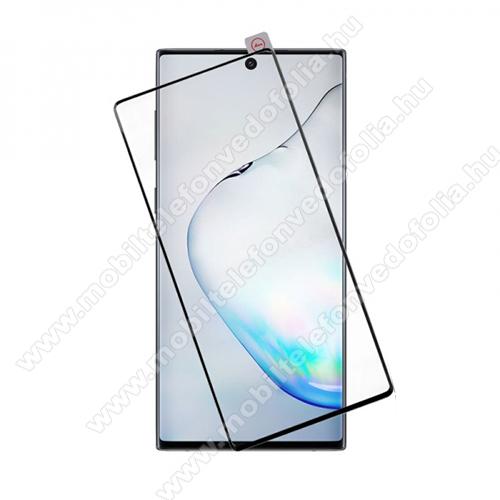 Előlap védő karcálló edzett üveg - FEKETE - 9H, Arc Edge, A TELJES KIJELZŐT VÉDI! - SAMSUNG Galaxy Note10 (SM-N970F) / Galaxy Note10 5G (SM-N971U)
