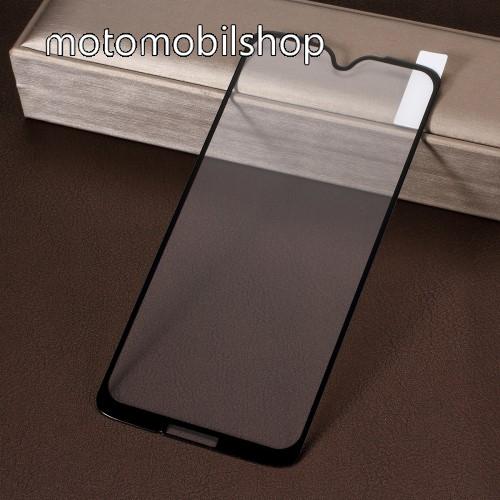 Előlap védő karcálló edzett üveg, TELJES KIJELZŐT VÉDI! - FEKETE - 9H, Arc Edge, A teljes felületén tapad! - MOTOROLA Moto G7 / MOTOROLA Moto G7 Plus