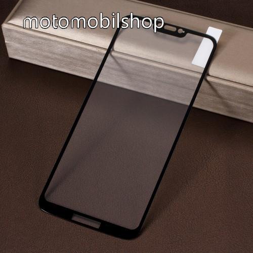 Előlap védő karcálló edzett üveg, TELJES KIJELZŐT VÉDI! - FEKETE - 9H, Arc Edge, A teljes felületén tapad! - MOTOROLA Moto G7 Power