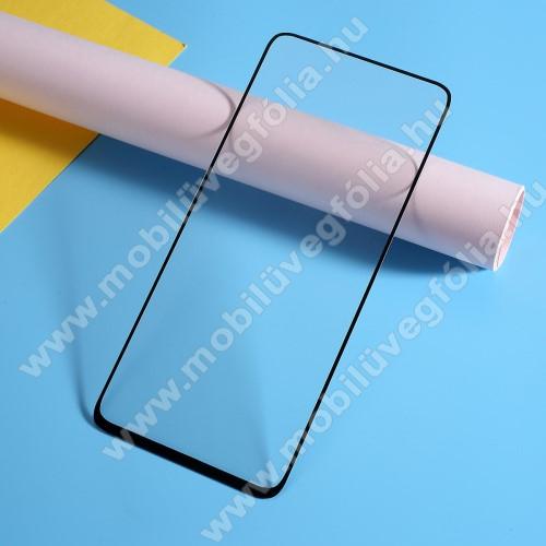 Előlap védő karcálló edzett üveg, TELJES KIJELZŐT VÉDI! - FEKETE - 9H, Arc Edge, A teljes felületén tapad! - SAMSUNG SM-A805F Galaxy A80 / SAMSUNG Galaxy A90