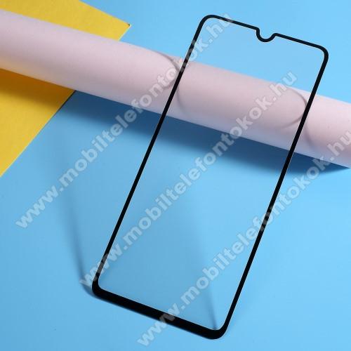 Előlap védő karcálló edzett üveg, TELJES KIJELZŐT VÉDI! - FEKETE - 9H, Arc Edge, A teljes felületén tapad! - SAMSUNG SM-A705F Galaxy A70