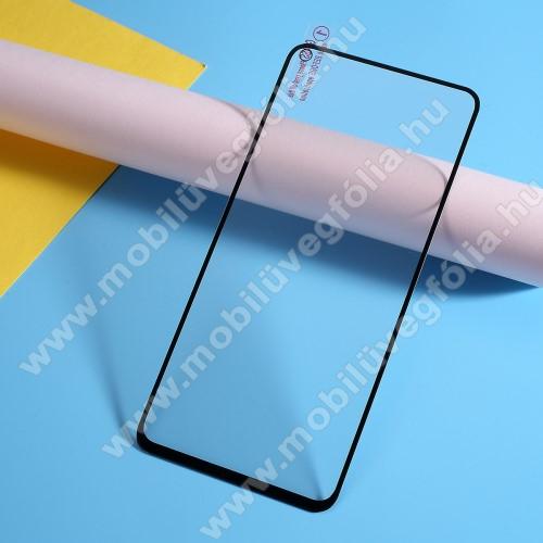 Előlap védő karcálló edzett üveg, TELJES KIJELZŐT VÉDI! - FEKETE - 9H, Arc Edge - OnePlus 7